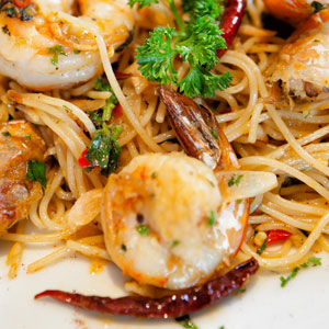 Spicy Shrimp with Spaghetti