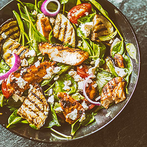 Chicken Salad with Grilled Eggplant