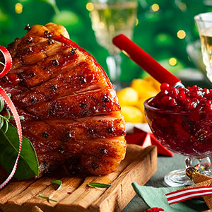 Glazed Country Ham with Cranberry Chutney