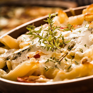 Creamy Baked Penne with Onions