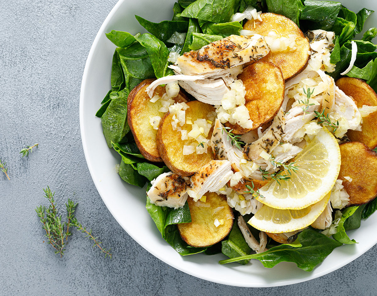 Chicken Salad with Crispy Potatoes
